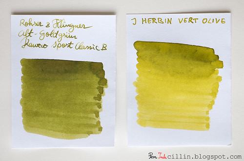 Rohrer & Klingner Alt-Goldgrun vs J Herbin Vert Olive