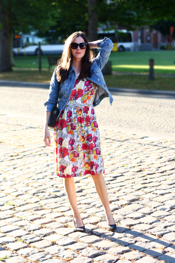 denim jacket floral sundress