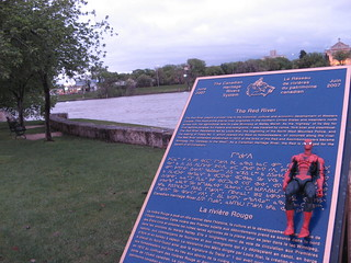 Spider-Man by the Red River, at The Forks in Winnipeg, MB