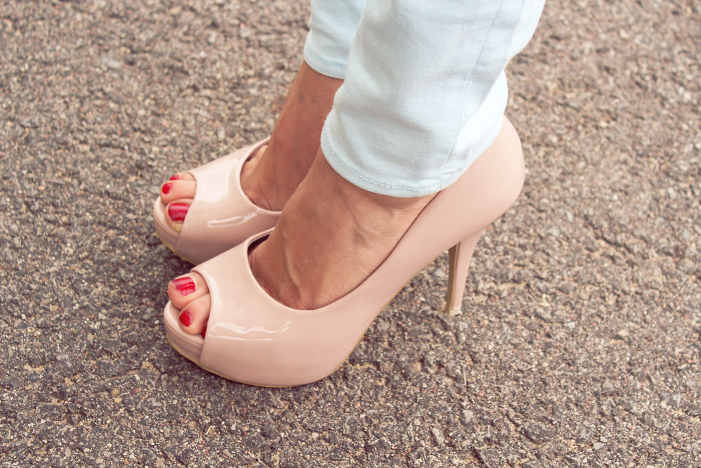 gorgeous, legs, neutral heels, pink heels, toenails, red nail polish