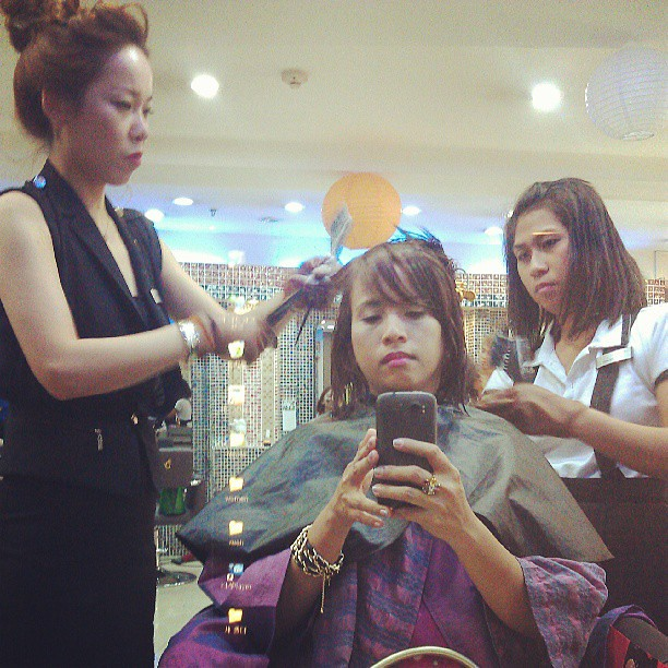 Getting #Korean #hairstyle now! Herr at ToniandJackey ! #Busan hair for me! :)