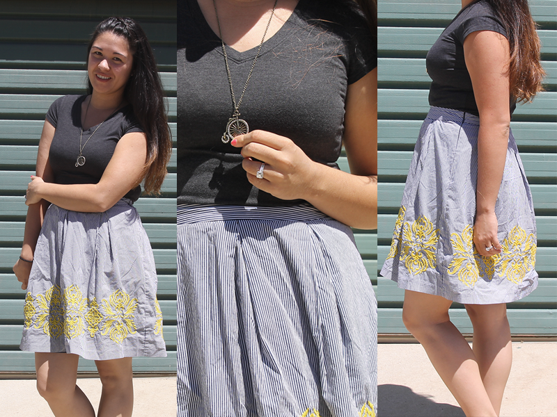 what i wore // striped skirts & vneck shirts