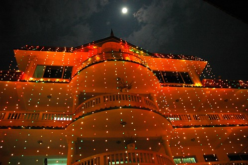 Tharlam Monastery Guesthouse, lit up for Sachen Kunga Nyingpo's memorial, full moon, night, tent (top right), memorial lights, Sakya Lamdre, Boudha, Kathmandu, Nepal by Wonderlane