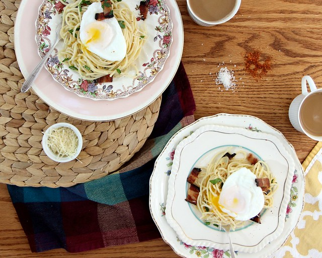 breakfast pasta with bacon and poached eggs