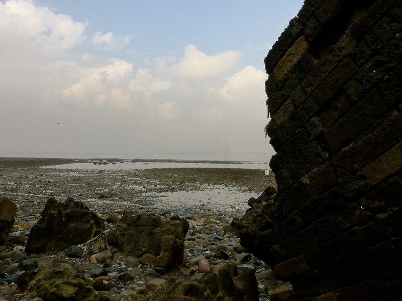 Mahim Fort - once imposing wall now ravaged by the sea and human carelesness
