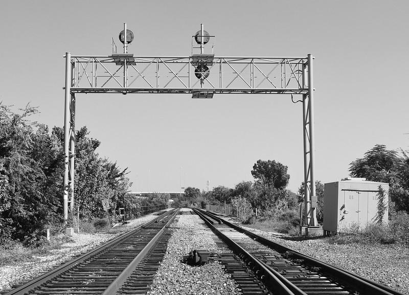 Railroad Bridge over Buffalo Bayou, Upstream from Jensen, Houston, Texas 1310261118BW