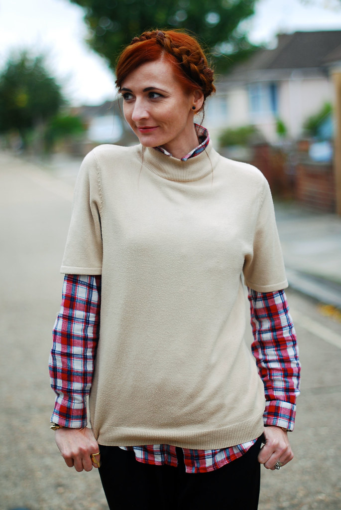 Casual autumn dressing: Taupe sweater, check shirt