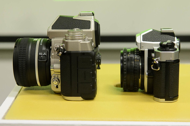 Nikon Df next to Nikon FM2