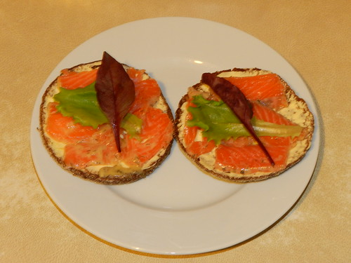 Cured salmon and mixed lettuce on Finnish rye bread