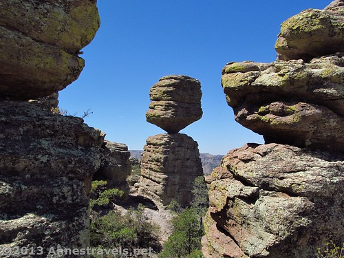 The Big Balanced Rock, framed by two other rock spires, Chiricahua National Monument, Arizona