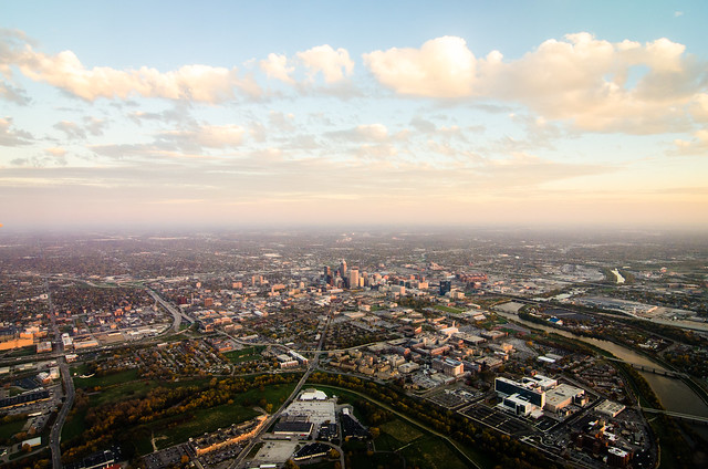 A panoramic view of Indianapolis at sunset.