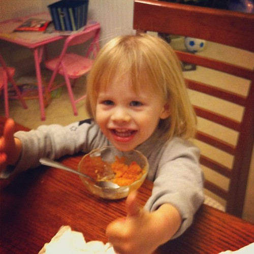 Lucy gives my sweet potato casserole two thumbs up.