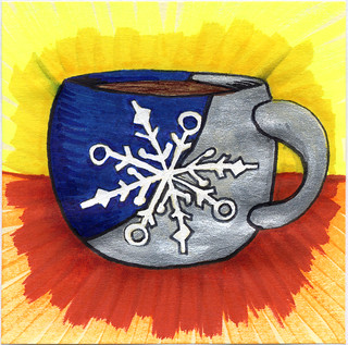 I drew you a snowflake on a blue & silver mug of coffee
