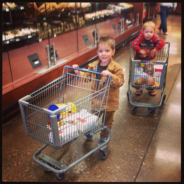 I took My Owen and Owen A. To costco and Kroger. I apologize to whomever we bumped into. They were kind of fast with those carts.