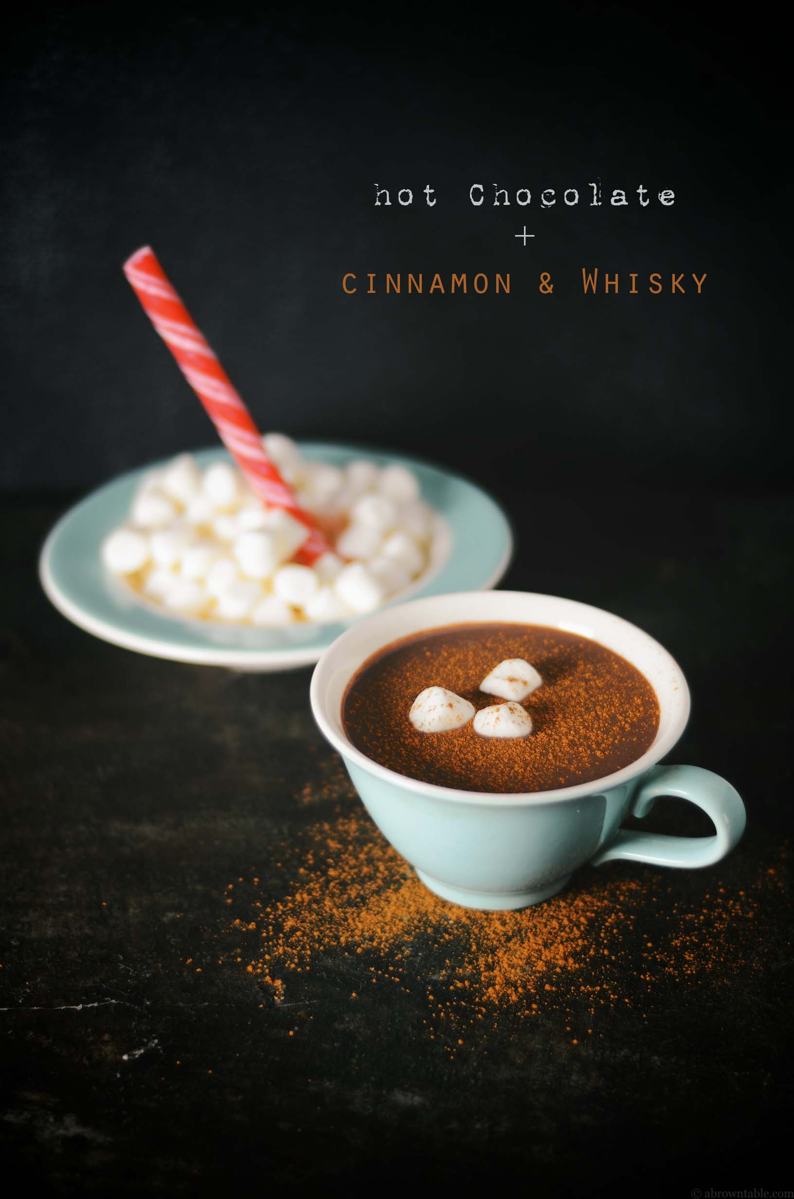 peppermint hot chocolate with cinnamon and whisky