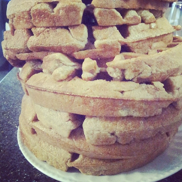 Created a from-scratch oatmeal whole wheat waffle mix today. Just call me Betty. (Betty Crocker that is)