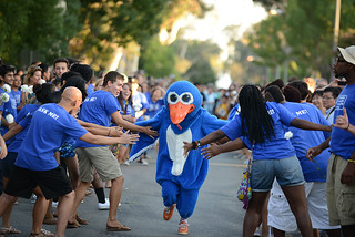 August—Cecil leads the rush of new students down College Avenue as the College welcomes the Class of 2017.