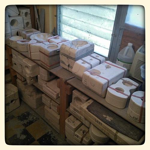 All strapped in! #slipcasting #ceramics #ceramicstudio