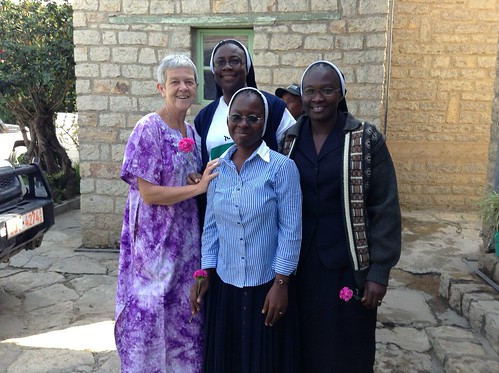 The three pioneer sisters - Justina, Benedicta and Ijanada - arrive in Ethiopia on Sept 19, 2013