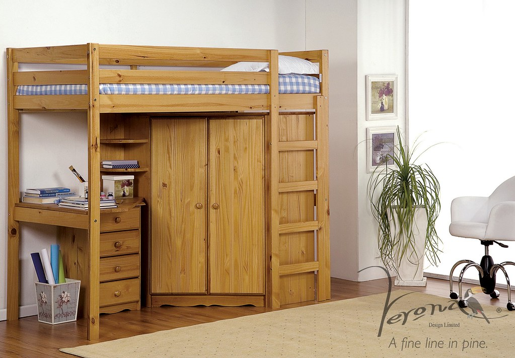 Rimini High Bed With Corner Robe Shelves and Bedside Cabinet