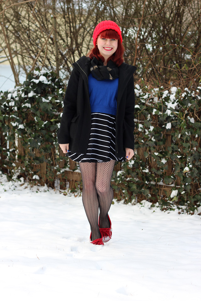 Blue Sweater Over A Striped Dress Red Knit Hat Fishnet