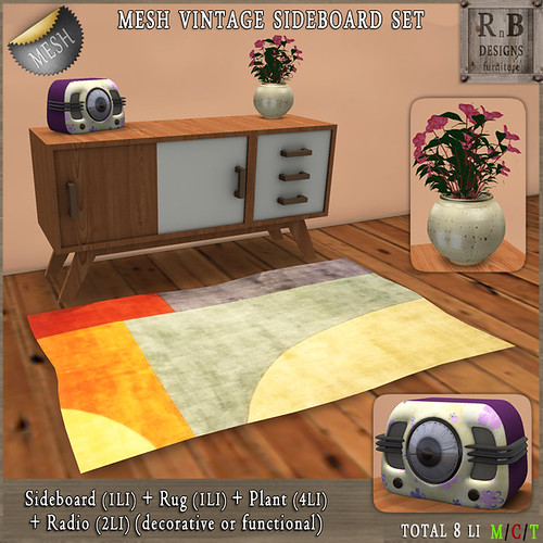 PROMO 55L ! *RnB* Mesh Vintage Sideboard Set with Radio