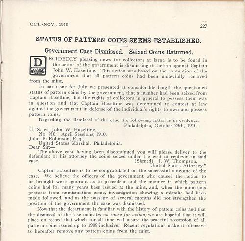 Seized Pattern Coins Returned 1910