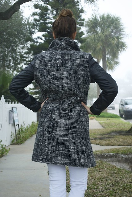 Wool and leather coat made with Mood fabrics and Vogue pattern 8933.