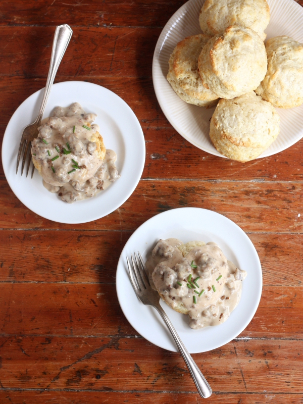 Buttermilk Biscuits with Sausage Gravy from completelydelicious.com