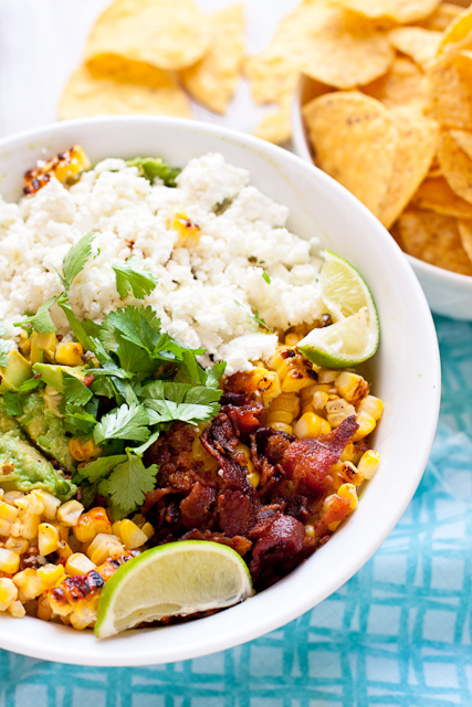 Guacamole with Goat Cheese, Grilled Mexican Corn, and Bacon