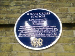 Photo of Lewis Cubitt and London King's Cross railway station blue plaque