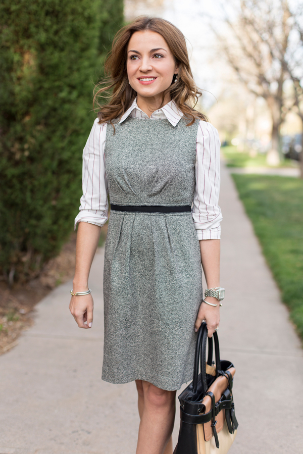Layering Shirt under Dress