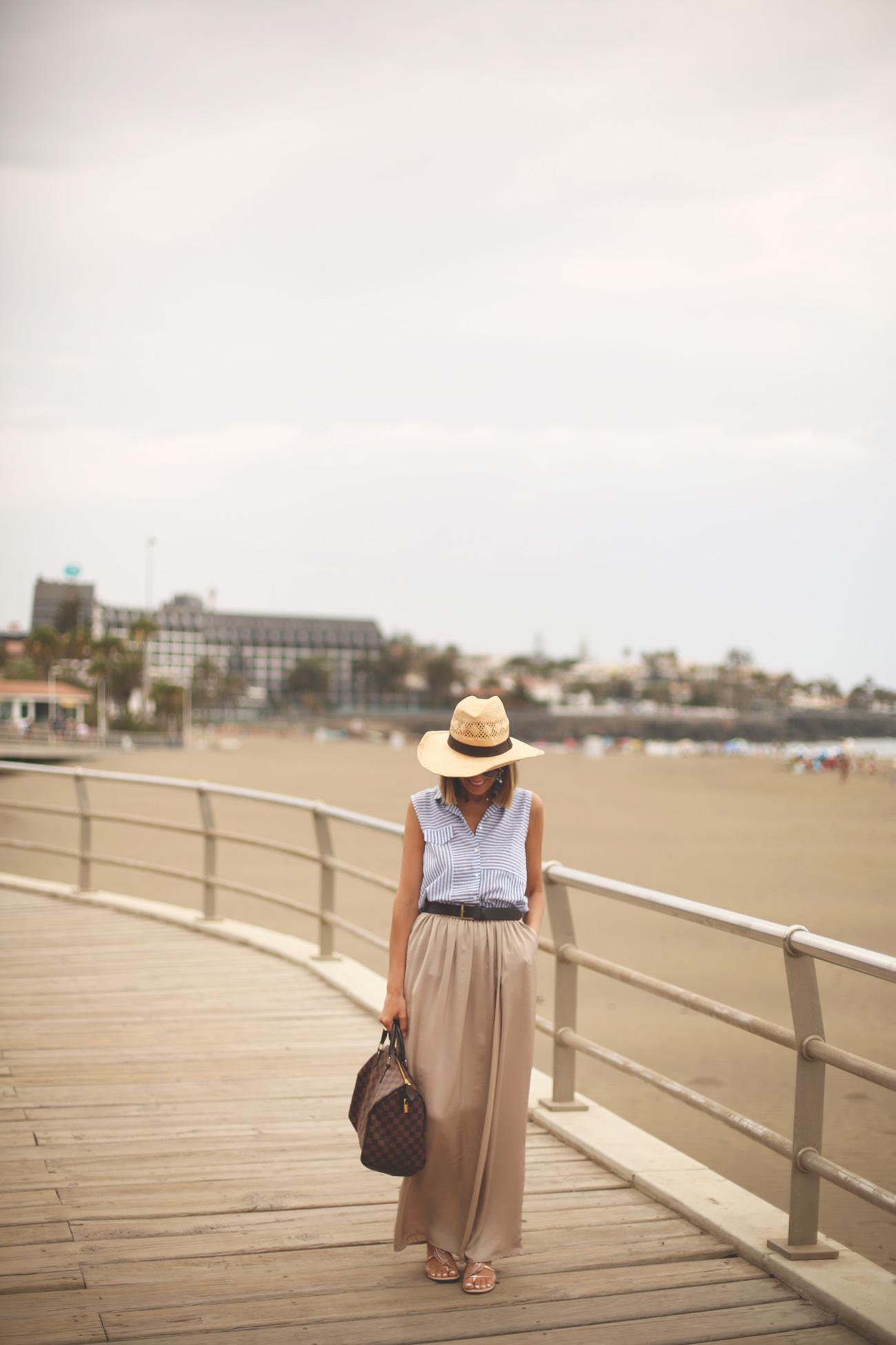 Palazzo, maxi skirt, beige, hat, sunnies, cutler gross, speedy, Louis Vuitton, Tous, Jewelry, sandals, deichmann