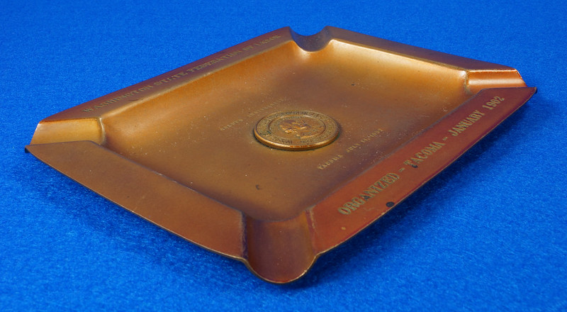 RD14480 1952 Brass Ashtray Washington State Federation of Labor Tacoma Union Made DSC06149