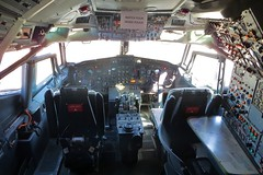 N242FE Boeing 727 cockpit section @ Santa Monica Museum of Flying 26th July 2015