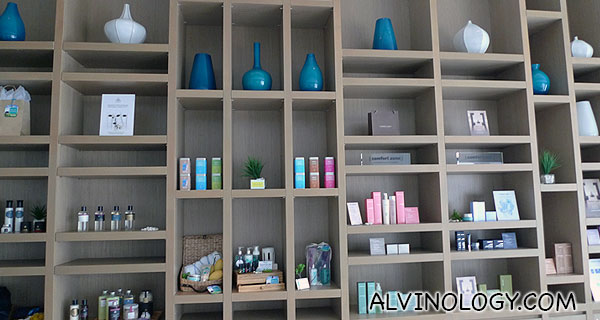 Products shelves