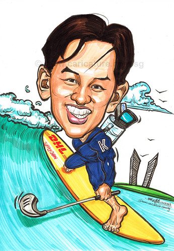 surfer caricature for DHL