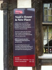 Photo of Thomas Nash, Nash's House, New Place, and Elizabeth Hall black plaque
