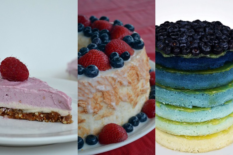 summer berry cakes collage