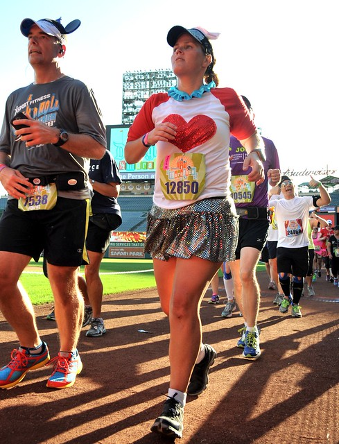 Running through Anaheim Stadium during the Disneyland Half Marathon