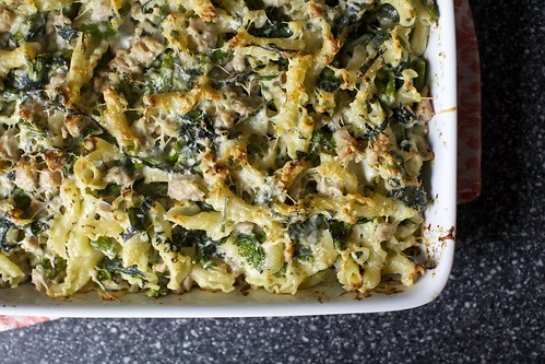baked bechamel pasta with broccoli rabe