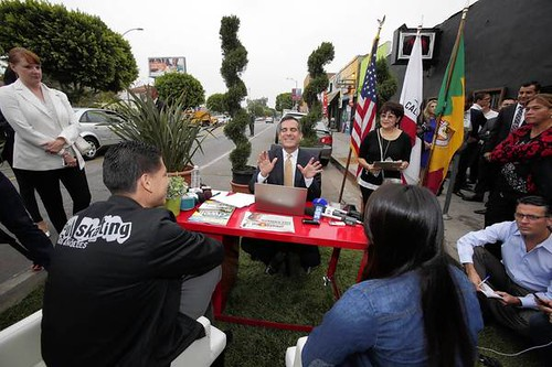 Mayor Garcetti's help desk, Parking Day Los Angeles