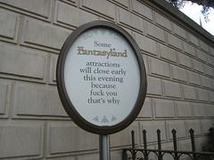 Disneyland - Fantasyland Closure Sign