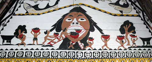 Ancient Palauans feeding the giant child, Chuab. This painting is common on traditional meeting houses. Photo courtesy of NRCS.