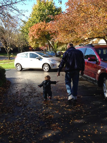 Martin and Grandad in the Driveway