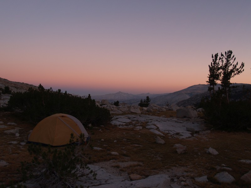 Sunrise alpenglow looking west from our camp on the shore of Upper McCabe Lake