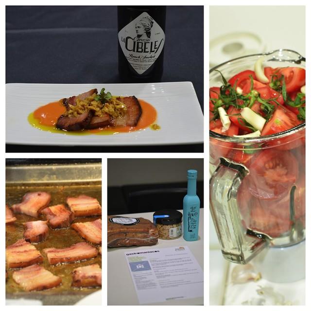 Bacon Ibérico con salmorejo y picada de almendras