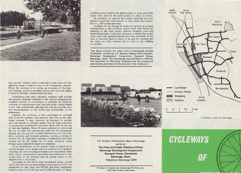 Cycleways of Stevenage leaflet c.1975