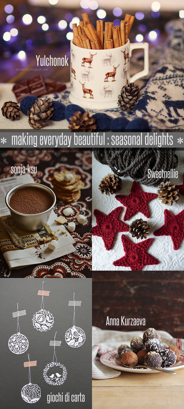 Weekly favourites from our fabulous Flickr group 'making everyday beautiful' curated by Emma Lamb : 1. Winter mood by Yulchonok, 2. chocolate mousse ... by sonja-ksu, 3. Trimming by Sweetnellie, 4. Christmas Paper cut by giochi di carta, 5. Chocolate truffles by Anna Kurzaeva
