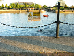 Swimers pass a 'No Swimming' sign at Salford Quays...